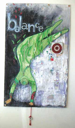 Balance gymnast Cirque art, mixed media circus painting, textiles and painting