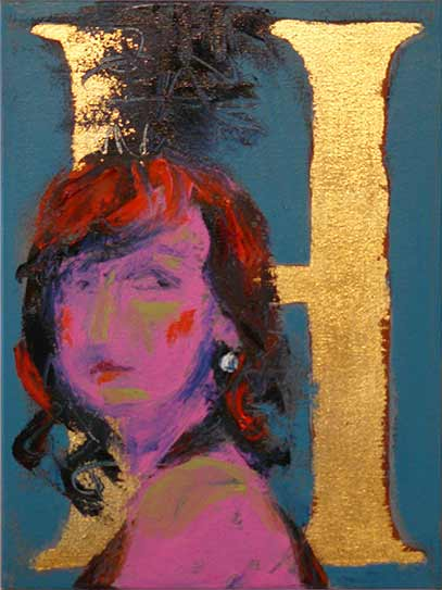 Pop art portrait of young girl in pink and turquoise. circus girl, dancing girl with black feather plume in hair