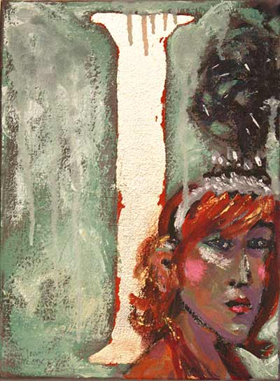 dancing girl with headdress, expressive oil painting, Paula O'Brien artist painter painting