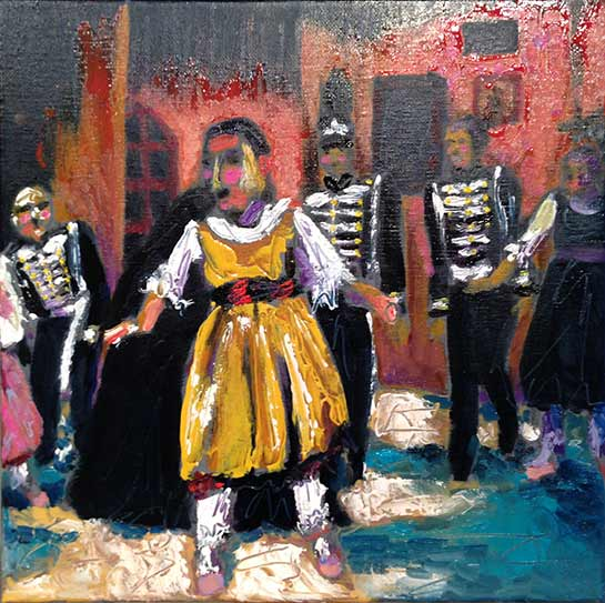 Nutcracker Ballet, party girl in yellow party dress, palette knife oil painting, expressive, impressionist, colorful, colourful art