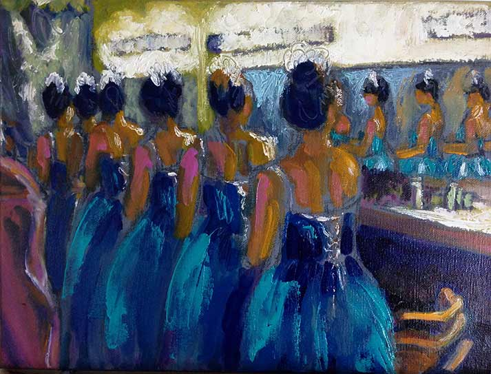Nutcracker Ballet, Snowflakes in blue satin dresses, lacing up the bodice backs in a row in dressing room