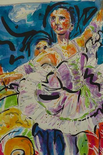 Nutcracker Ballet, watercolor with wax resist, Mirlitons