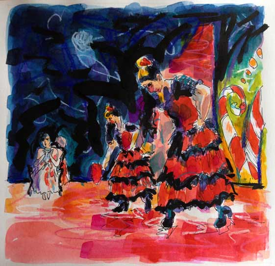 vibrant colorful watercolor painting, Nutcracker Ballet, Spanish dance, red dress dance costume, colourful ballet watercolour painting