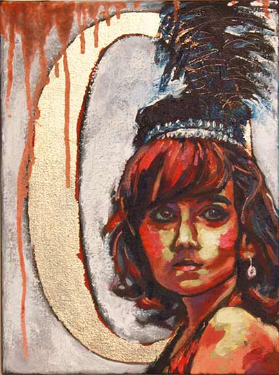 circus girl dancer, intense colorful painting of young girl with feather plumes, portrait of young dancer