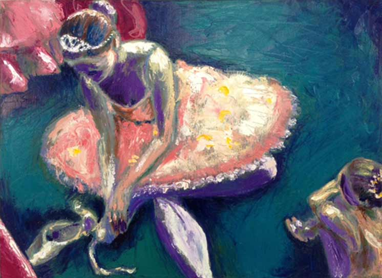 Nutcracker Ballet, prima ballerina Sugar Plum Fairy in pink and gold classical tutu costume, ballet oil painting, Paula O'Brien