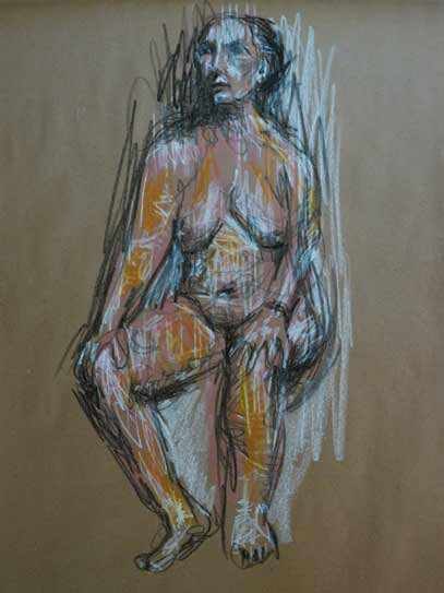 colorful nude bold life drawing, female nude, colored graphite on kraft paper, Paula O'Brien, life drawing Sunshine Coast, Gibsons, BC, Sechelt