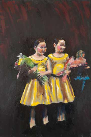 young dancing twin girls in yellow dresses, bold colorful palette knife painting, colourful dance art