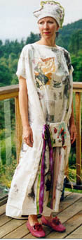wearable art silk dress with image transfer