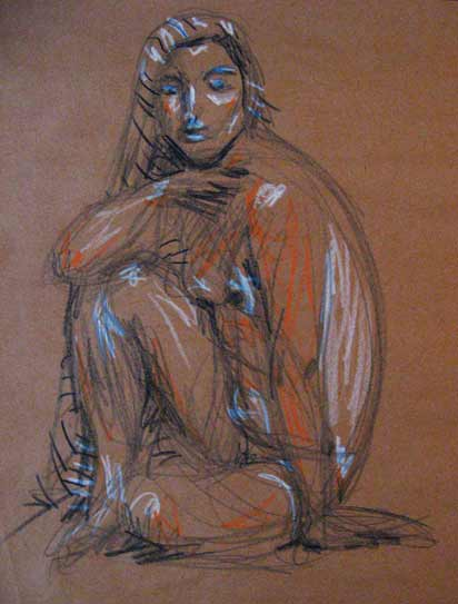 female nude life drawing, life drawing Gibsons, BC, young woman with scarf