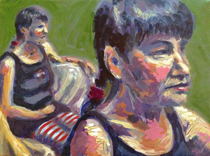 figure painting with red striped stockings, painting from life, clothed model
