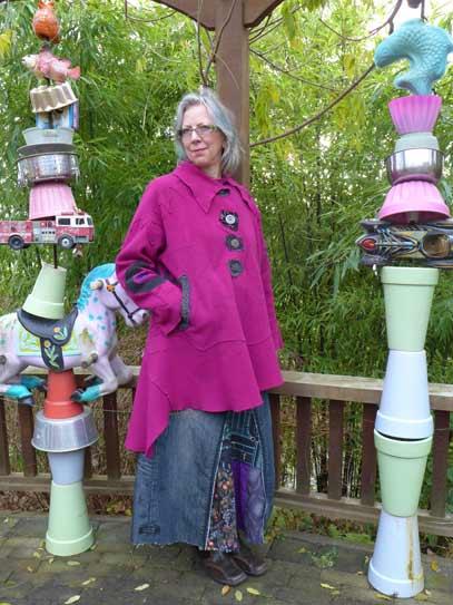 fuschia pink magenta boiled wool art coat, raw edges, wandering hemline, wearable art coat, Circus Pavelka