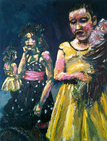 young dancing girl in yellow dress, bold colorful palette knife painting, colourful dance art