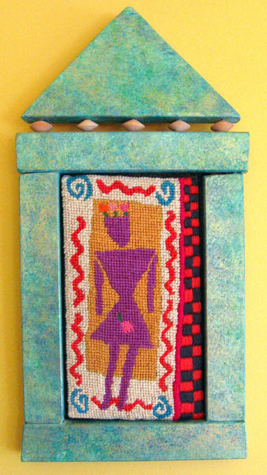 Paula O'Brien, Pavelka Design, art textiles, needlepoint woman in wooden frame