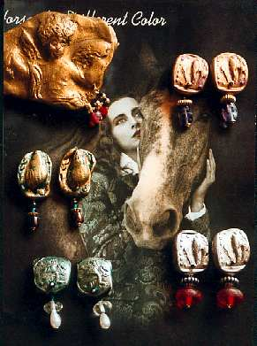 Embossed and gilded Polyform clay jewelry, Paula O'Brien jewelry, Vancouver