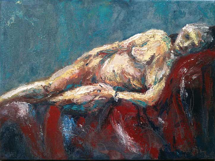 naked Venus painting, life reclining nude painting with palette knife in oil paints, quick study nude