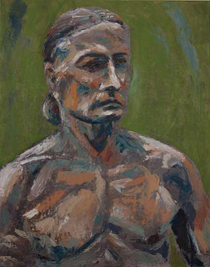 palette knife painting nude man, bare chested man in direct alla prima approach oil painting with palette knife