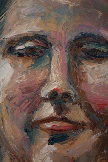 alla prima palette knife portrait woman, in pinks and blues, close up portrait face, Paula O'Brien