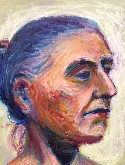 portrait of woman head in oil sticks, life drawing with oil sticks
