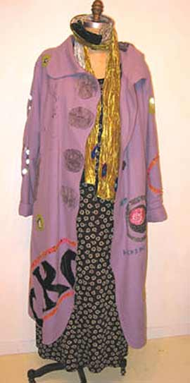 purple-wool-art-coat, Lilac felted wool art coat, applique on boiled felted wool