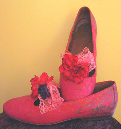sponging paint on suede shoes, artificial flowers, decorated shoes