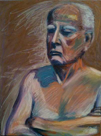 old soldier, seated man figure painting