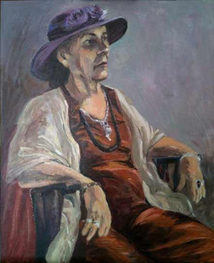 woman in purple hat, older Woman With Purple Hat, portrait painting, Paula O'Brien colorful portrait painter