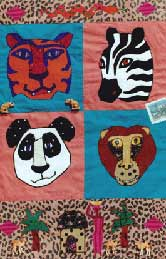 tiger, panda, monkey, zebra, Pavelka Design Independent sewing patterns, interesting sewing patterns, decorated applique quilt pattern