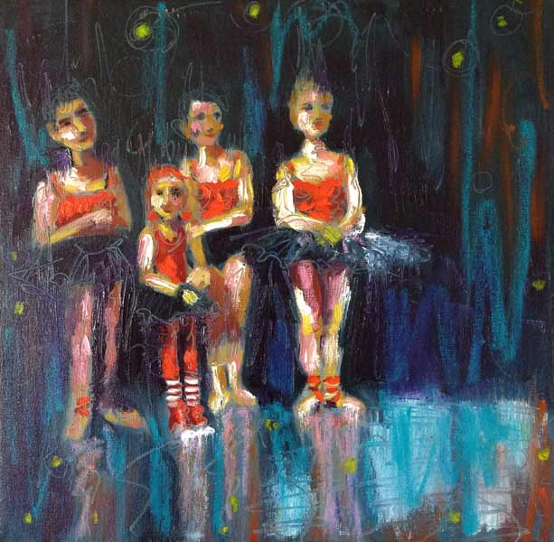 dance school adjudication, dancing girls in red and black tutus, expressive figurative dance painting, alla prima painting