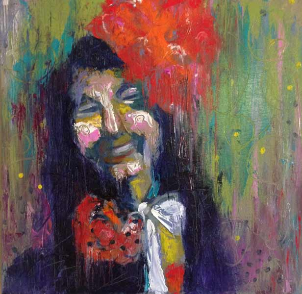 woman with red flowers in hair, expressive portrait painting, colorful costume figure painting