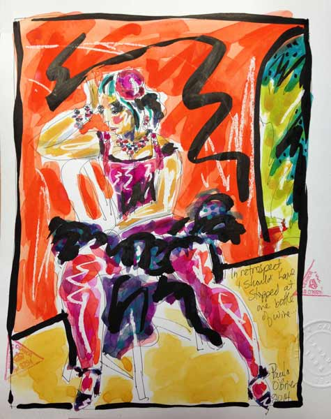 vibrant watercolor painting, dancer in costume, orange and pink