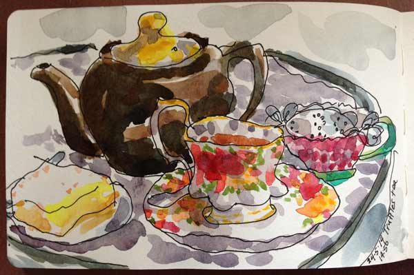 watercolor teapot, plein air painting cafe teapot Truffles