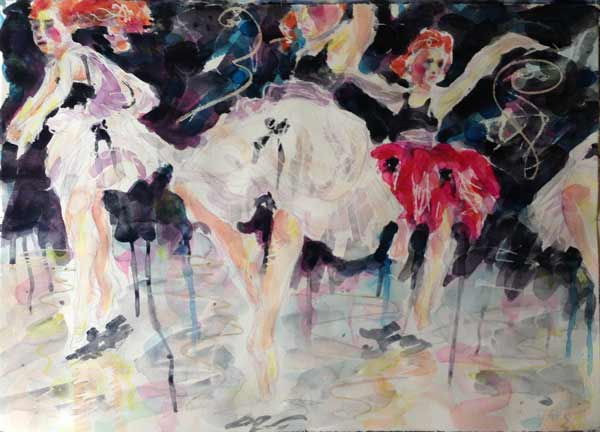 contemporary dancers in watercolor painting, dance painting watercolour