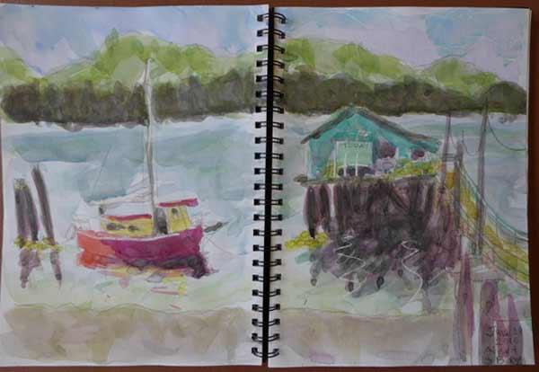 plein air painting, Alert Bay, BC, native fishing village