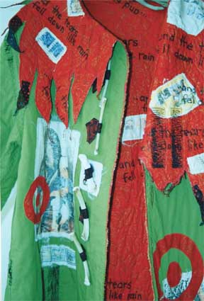 Paula O'Brien, Pavelka Design, art textiles, art coat, collar details, red flame edge