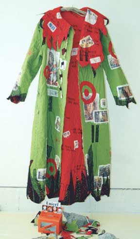 Paula O'Brien, Pavelka Design, art textiles, Paula O'Brien, Pavelka Design, art textiles, wearable art quilt coat 9/11, New York Twin Towers, Afghanistan