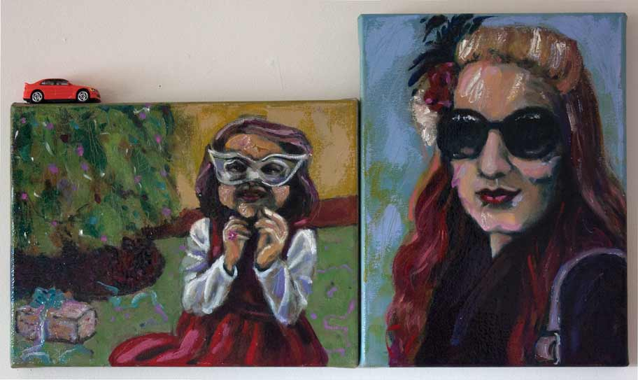 double portrait of girls, double portrait painting of young girl and young woman
