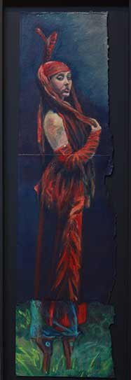 Circus red dress painting, red sequins dress and evening gloves, painting of young woman in theatrical dress, acrylics on heavy watercolor paper, Aprile Dunlop dancer
