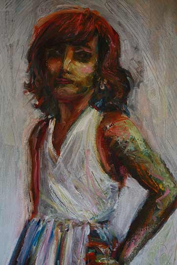 oil painting of dancing girl in white dress, expressive oil painting, Paula O'Brien artist painter