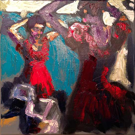 Nutcracker Ballet, woman in red satin evening dress, palette knife oil painting, expressive, impressionist, colorful, colourful art