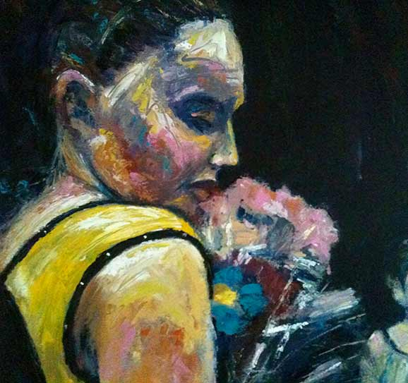 young dancing girl in yellow dress, colourful painting