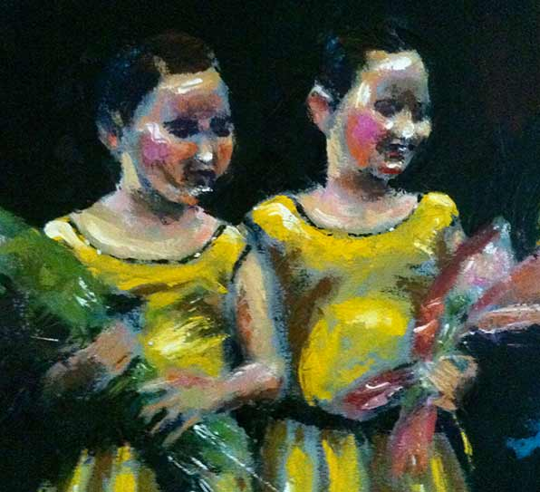 young dancing twin girls in yellow dresses with bouquets, oil painting with palette knife, colorful dance art