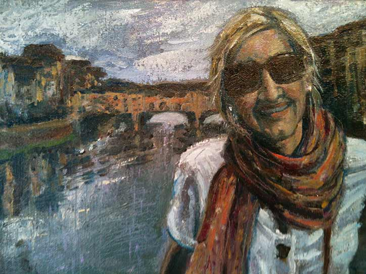 Paula O'Brien Nicole portrait, oil painting palette knife portrait