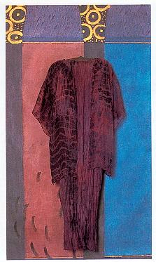 Paula O'Brien, Paula Seifred, Pavelka Design, art textiles, purple Fortuny pleated silk dress wearable art