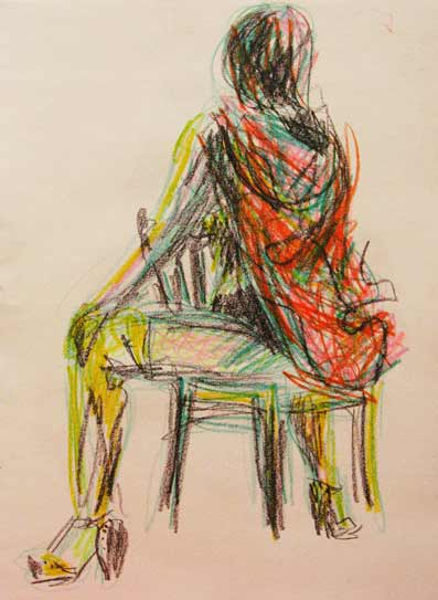 burlesque life drawing, Little red Riding Hood, colorful life drawing, Paula O'Brien