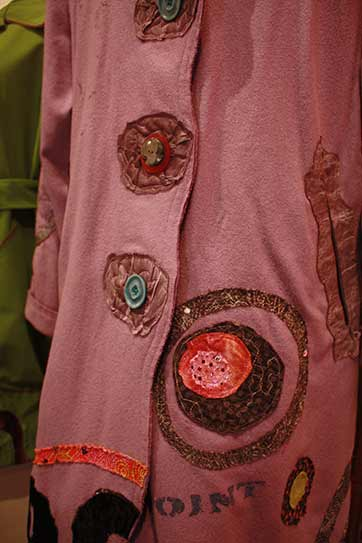 circus-wearable-art-coat-buttons, Lilac felted wool art coat, applique on boiled felted wool