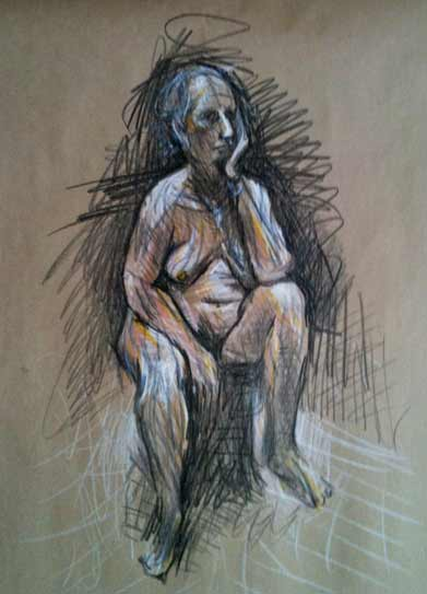 colorful nude life drawing, Sunshine Coast, BC, life drawing group in Sechelt