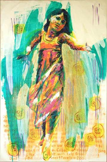 dancing child expressive painting, acrylics painting child dancing, Paula O'Brien