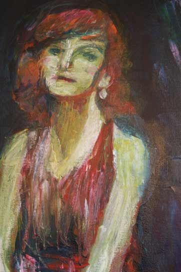 dancing girl in red dress, expressive oil painting, figurative art, dance painting, dance portrait