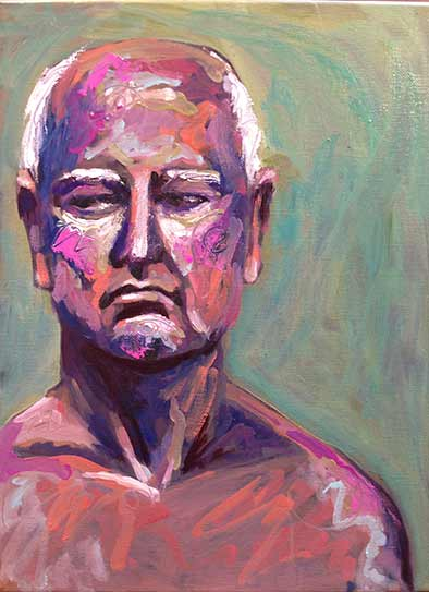 fauve portrait old soldier, colourful oil painting from life model older man, Paula O'Brien artist, painter, painting Gibsons BC