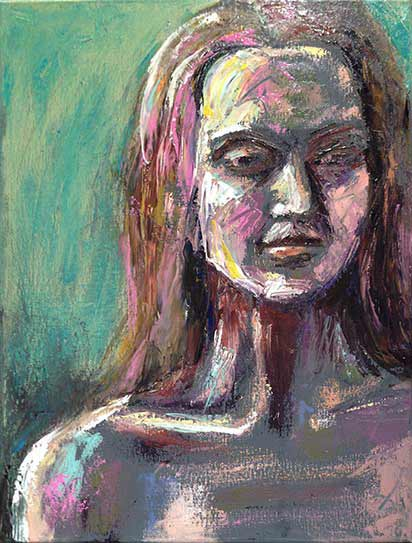 quick studies in oil, dramatic portrait of woman, palette knife painting, colorful artwork, colourful painter